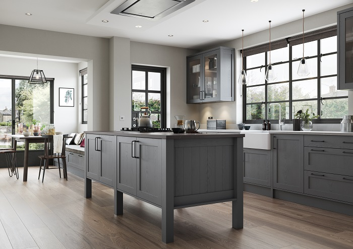 Aldana Skinny Shaker Style Kitchen in Painted Dust Grey